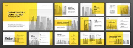 Conjunto de plantillas de presentación de negocios. Utilice el diseño de folleto horizontal, el control deslizante del sitio web, la página de destino, el informe anual, el perfil de la empresa, la cartera, el banner de las redes sociales.