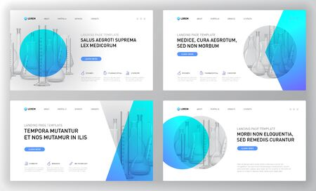 Pharmaceutical landing pages templates set. Modern web page design concept layout for website. Vector illustration. Horozontal brochure cover, web banner, website slide. Illustration
