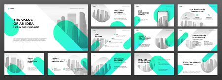 Business presentation templates set. Use for modern presentation background, brochure design, website slider, landing page, annual report, company profile. Vectores