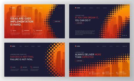 Plantilla de página de destino para empresas y construcción. Diseño de concepto de diseño de página web moderna para sitio web. Ilustración vectorial. Portada del folleto, banner web, diapositiva del sitio web.