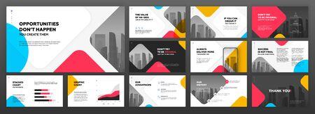 Conjunto de plantillas de presentación de negocios. Se utiliza para presentaciones modernas de fondo, diseño de folletos, control deslizante del sitio web, página de destino, informe anual, perfil de la empresa.