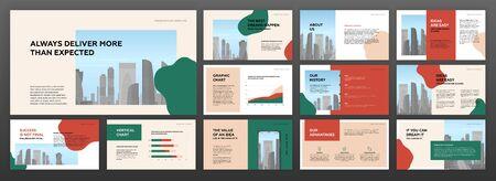 Modelli di presentazione minimalista moderni impostati per affari con illustrazione vettoriale di paesaggio urbano sullo sfondo