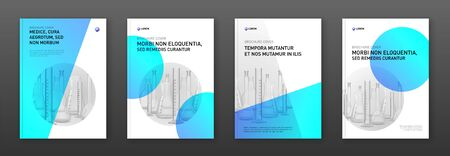 Pharmaceutical brochure cover design layout with flasks illustration.
