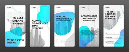 Social media stories templates pack with cityscape vector illustration on background. Good for roll up banner, leaflet, brochure cover, vertical presentation template.