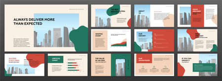 Modern minimalistic presentation templates set for business with cityscape vector illustration on background