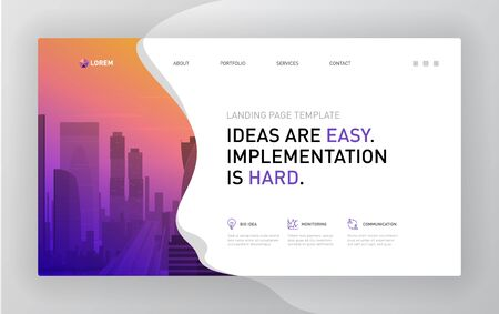 Landing page template for business. Modern web page design concept layout for website. Vector illustration. Brochure cover, banner, slide.