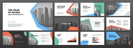 Business presentation templates set. Use for modern presentation background, brochure design, website slider, landing page, annual report, company profile.