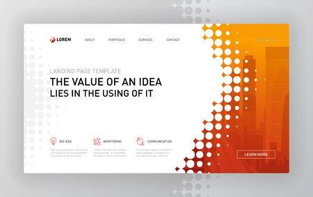 Landing page template for business and construction. Modern web page design concept layout for website. Vector illustration. Brochure cover, web banner, website slide.