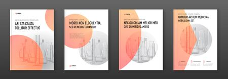 Pharmaceutical brochure cover design layout set with flasks vector illustration. Good for medical annual report, laboratory catalog design.