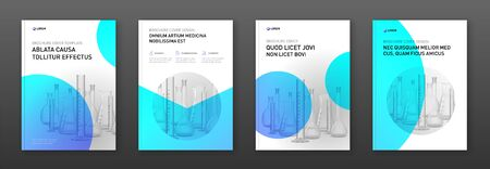 Pharmaceutical brochure cover design layout with flasks vector illustration. Good for medical annual report, laboratory catalog design, company profile Vecteurs