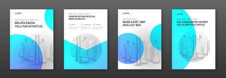 Layout di progettazione della copertina dell'opuscolo farmaceutico con illustrazione vettoriale di boccette. Buono per la relazione annuale medica, la progettazione del catalogo di laboratorio, il profilo aziendale Logo