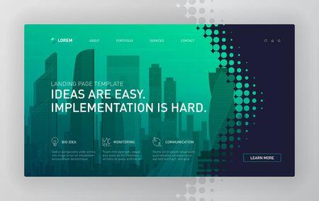 Landing page template for business. Modern web page design concept layout for website. Vector illustration. Brochure cover, web banner, website slide. 矢量图像