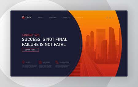Landing pages templates set for business. Modern web page design concept layout for website. Vector illustration. Brochure cover, banner, slide show. 矢量图像