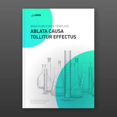 Pharmaceutical brochure cover design layout set with flasks vector illustration.