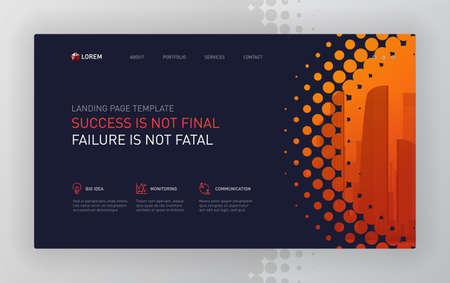 Landing page template for business and construction. 矢量图像
