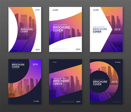 Brochure cover design layout set for business and construction. Abstract geometry with coloured cityscape vector illustration on background. Good for annual report, industrial catalog design.