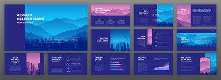 Creative presentation templates set. Use for creative presentation background, brochure design, website slider, landing page, annual report, company profile. 矢量图像