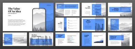 Creative presentation templates set. Use for modern presentation background, brochure design, website slider, landing page, annual report, company profile.