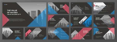 Business presentation templates set. Use for modern presentation background, brochure design, website slider, landing page, annual report, company profile. 矢量图像