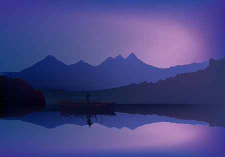 background mountains and ocean sunset men in wood boat Vector