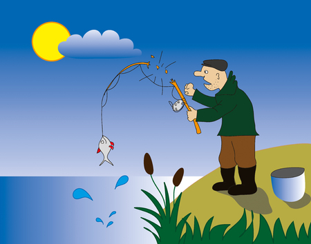 angler: fisherman on the coast of Lake and he broken his fishing-rod Illustration