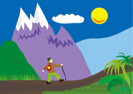 beautiful meadow sunrise and men going to hike between trees Vector