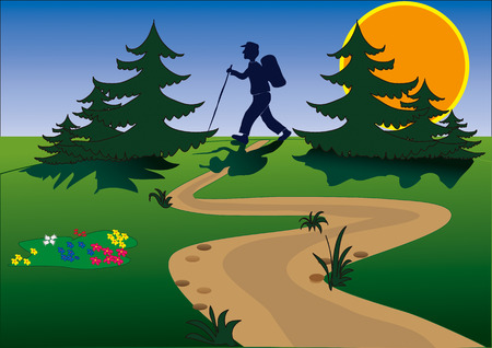 クライマー: 美しい草原日の出と行く男性の木 々の間をハイキングするには