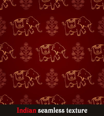 east indian: seamless red and yellow indian elephant wallpaper