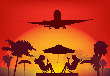 tropical palm beach two girl sitting under sunshade and airplane in the sky Vector