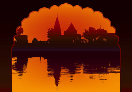 punjab: Indian lake sunset temple and reflection with old arch