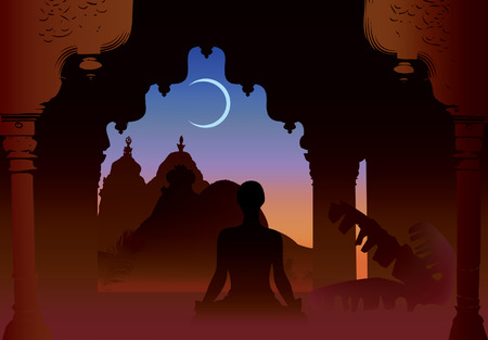 Indian moon night temple and yogi under old arch Vector