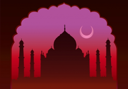place of worship: Indian moon night Taj Mahal temple and old arch