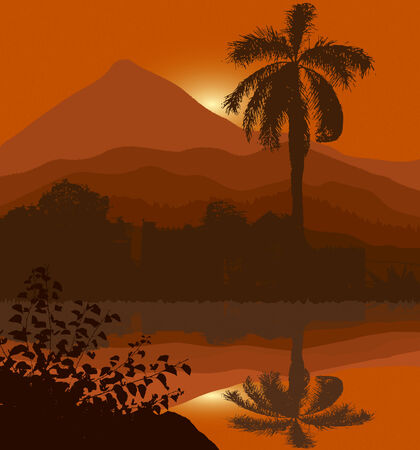 palm sunset on the beach tropic island mountain background Vector