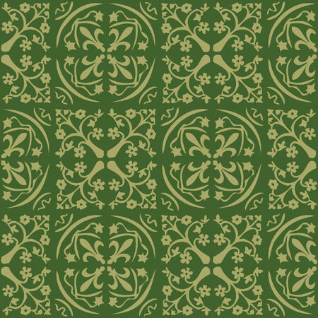 seamless green gothic wallpaper Stock Vector - 8438386