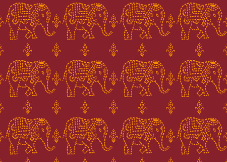 seamless red and yellow indian elephant wallpaper Stock Vector - 8438390