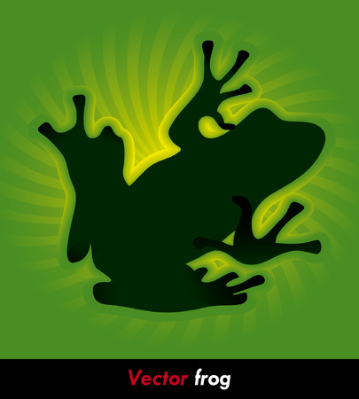eco tourism: hiking green frog on the green background Illustration