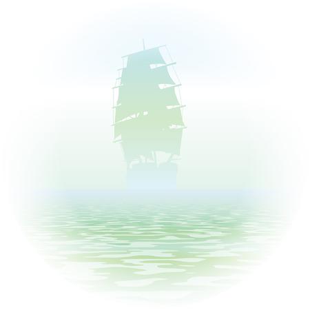 mist ship in ocean eps 10 Vecteurs