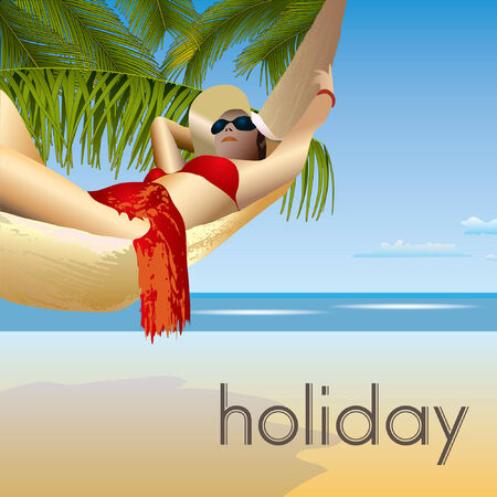 tropic beach palms and hammock