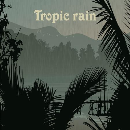 tropic beach palms and rain Vector