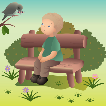 boy sitting on the wooden bench Vector