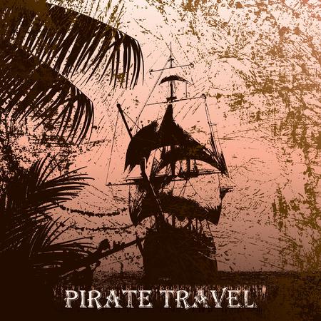 grunge mist pirate ship in ocean Illustration
