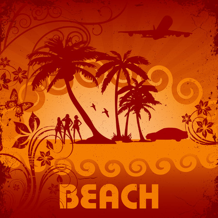 grunge tropic beach palms and girls Vector