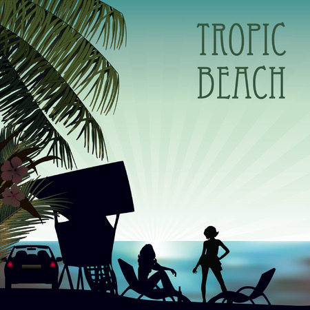 tropic beach at sunset palms and girls Vector