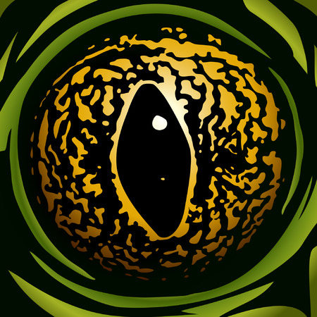 space: yellow frog eye on the green background
