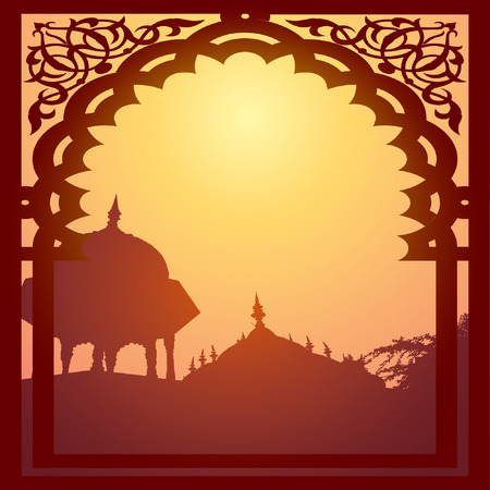 dome of hindu temple: Indian arch and architecture at sunset