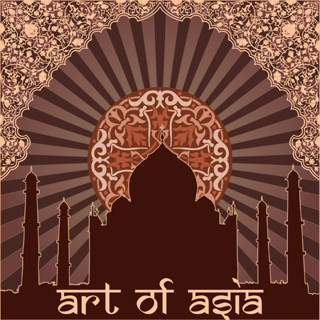 taj: Asian flower and architecture on the dark background Illustration