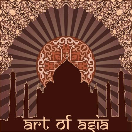 Aziatische bloem en architectuur op de donkere achtergrond