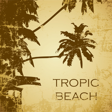 Caribbean sea: grunge tropic beach palms on the yellow background