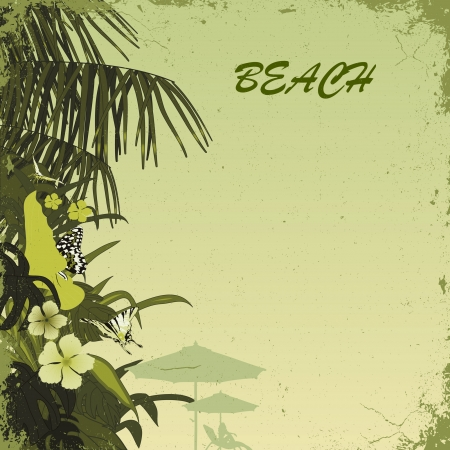 birds of paradise: grunge tropic beach palms on the green background