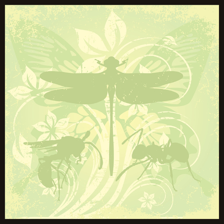 dragonfly and insect on the flower background Vector